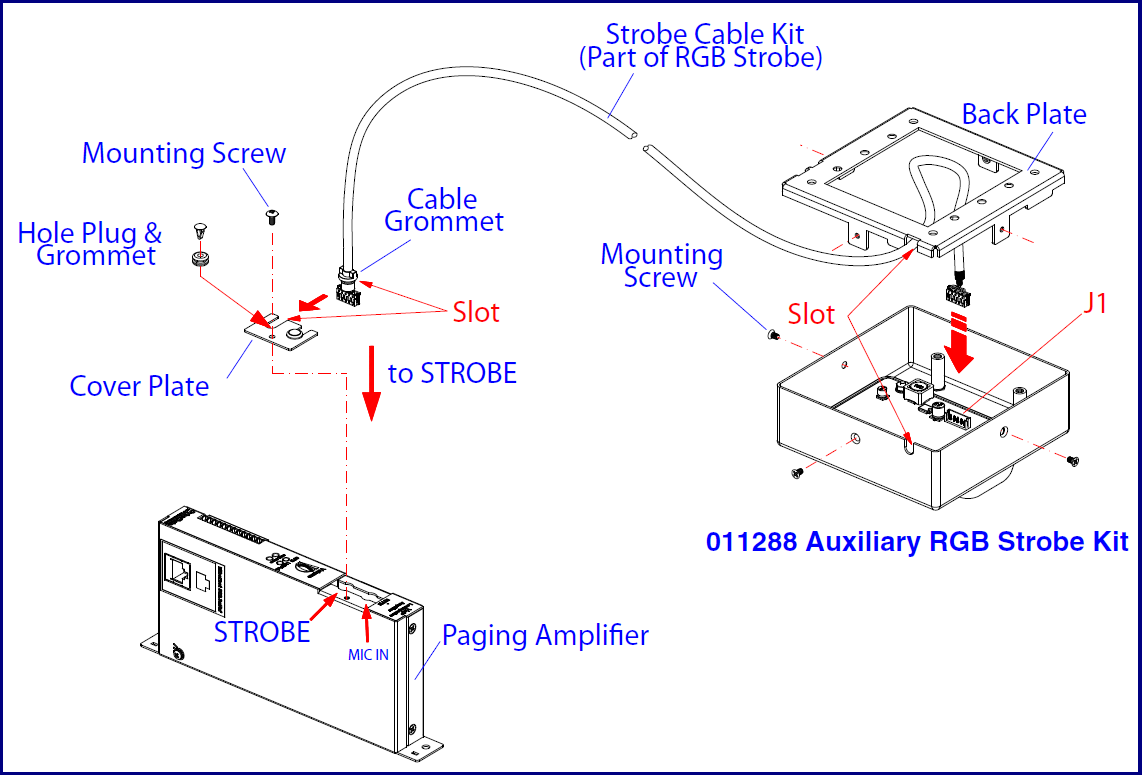 011324 Sip Paging Amplifier Cyberdata Corporation At Amp T Telephone Wiring Diagram 2500 Connecting The Auxiliary Rgb Strobe Kit To